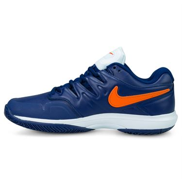 Nike Air Zoom Prestige Leather Mens Tennis Shoe - Blue Void/Orange Blaze/White