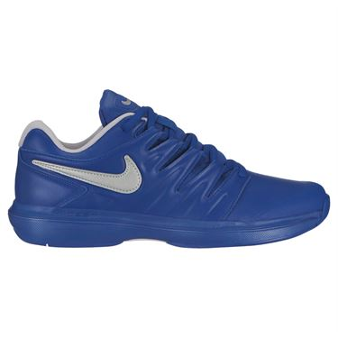 Nike Air Zoom Prestige Leather Mens Tennis Shoe - Indigo Force/Metallic Silver/Vast Grey