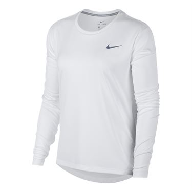 Nike Miler Long Sleeve Top - White/Reflective Silver