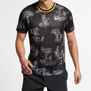 Nike Court Dri Fit Challenger Crew - Black/Canyon Gold
