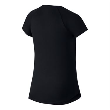 Nike Girls Court Pure Tennis Top - Black/White