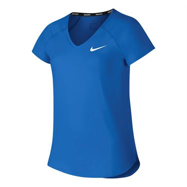 Nike Girls Court Pure Tennis Top - Signal Blue/White