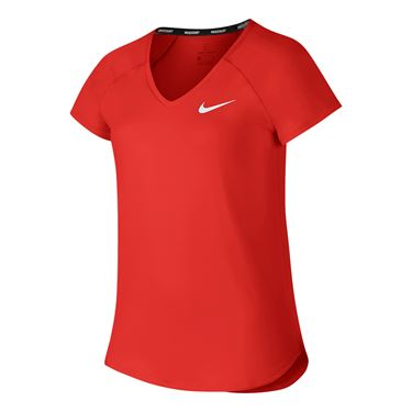 Nike Girls Court Pure Tennis Top - Habanero Red/White