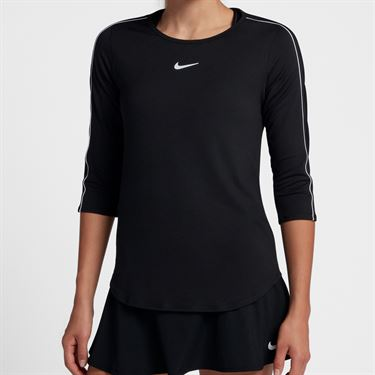 Nike Court 3/4 Sleeve Top - Black/White