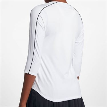 Nike Court 3/4 Sleeve Top - White/Black