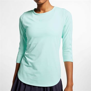 Nike Court 3/4 Sleeve Top - Teal Tint/White