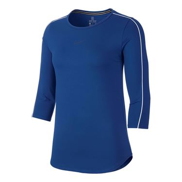 Nike Court 3/4 Sleeve Top - Indigo Force/White