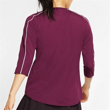 Nike Court 3/4 Sleeve Top Womens Bordeaux/White AQ7658 610
