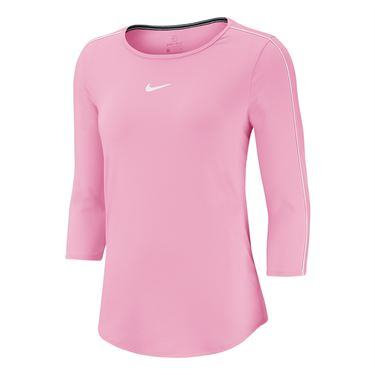 Nike Court 3/4 Sleeve Top Womens Pink Rise/White AQ7658 629