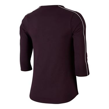 Nike Court 3/4 Sleeve Top - Burgundy Ash/White