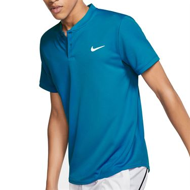 Nike Court Dri Fit Blade Polo Shirt Mens Neo Turquoise AQ7732 425