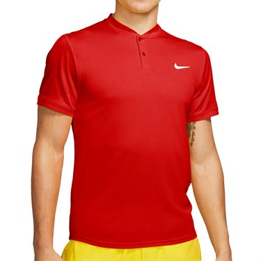 Nike Court Dri Fit Blade Polo Shirt Mens Habanero Red AQ7732 636