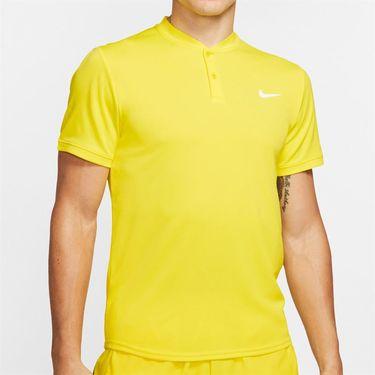 Nike Court Dry Blade Polo Shirt Mens Opti Yellow/White AQ7732 731