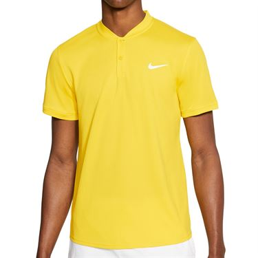 Nike Court Dri Fit Polo Blade Shirt Mens Yellow/White AQ7732 735