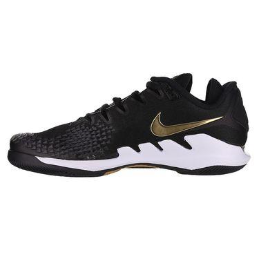 Nike Court Air Zoom Vapor X Knit Mens Tennis Shoe Black/Metallic Gold/White AR0496 003