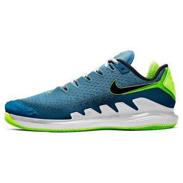 Nike Court Air Zoom Vapor X Knit Mens Tennis Shoe Neo Turquoise/Black/Green Abyss/Hot Lime AR0496 400