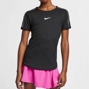 Nike Girls Court Dri Fit Top - Black/White