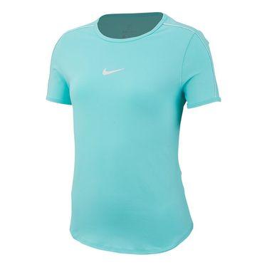 Nike Girls Court Dri Fit Short Sleeve Top - Light Aqua/White