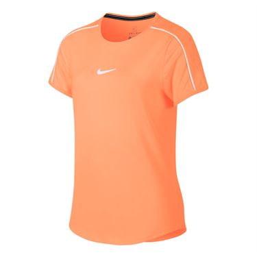 Nike Girls Court Dri Fit Top - Orange Pulse/White
