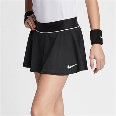 Nike Girls Court Flounce Skirt - Black/White