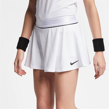 Nike Girls Court Flounce Skirt- White/Black