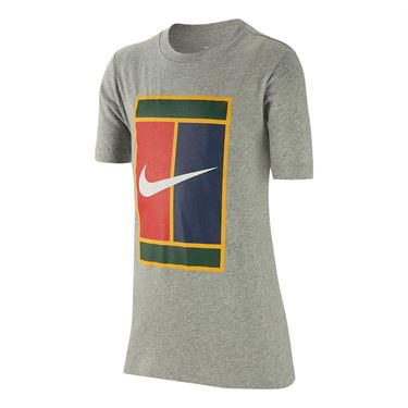 Nike Boys Court Heritage Tee - Dark Grey Heather/White