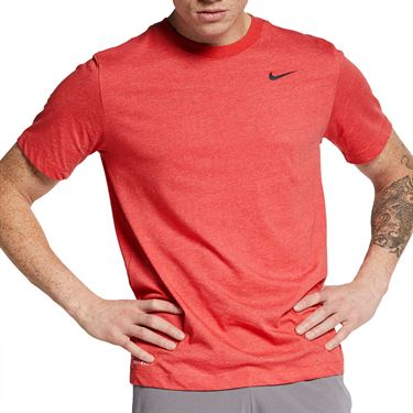 Nike Solid Training Crew Mens Light University Red Heather/Black AR6029 672