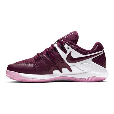 Nike Court Vapor X Junior Tennis Shoe White/Bordeaux/Pink Rise AR8851 107