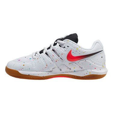 Nike Junior Court Vapor X Tennis Shoe White/Laser Crimson/Oracle Aqua/Off Noir AR8851 108