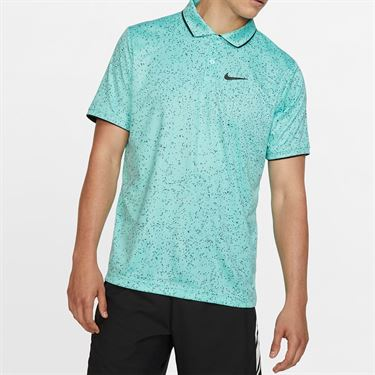 Nike Court Advantage Print Polo - Light Aqua/Black