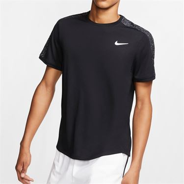 Nike Court Dry Graphic Crew - Black/White