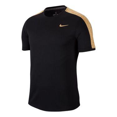 Nike Court Dri Fit Crew Shirt Mens Black/Metallic Gold AT4305 011