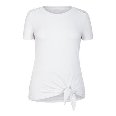 Tail Core Short Sleeve Knotted Top - White