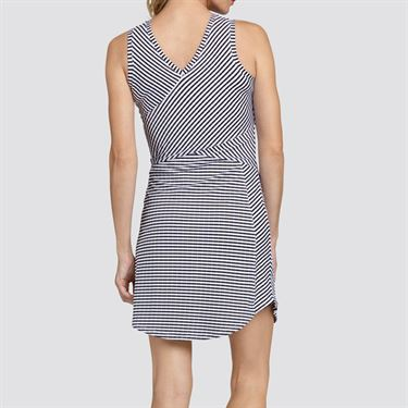 Tail Core V Neck Dress - Black/White Stripe Jacquard