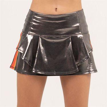 Lucky in Love Camo Groove Girls Metallic Groovy Stripe Flip Skirt Gunmetal B103 917050