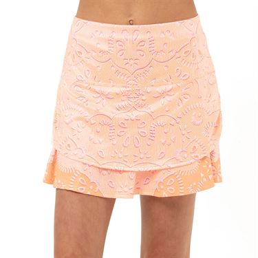 Lucky in Love Eyelet Go Girls Ruched Skirt Orange Frost B109 D03824
