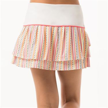Lucky in Love Neon Vibes Girls Lit Pleat Tier Skirt - Coral Crush Print/White