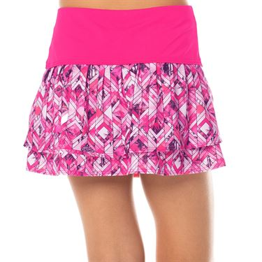 Lucky In Love Tropic Chroma Girls Pleat Tier Skirt Shocking Pink/Chroma B97 894645