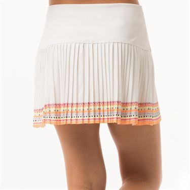 Lucky in Love Neon Vibes Girls Neon Border Pleat Skirt - White/Coral Crush Print