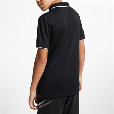 Nike Boys Court Dri Fit Polo - Black/White