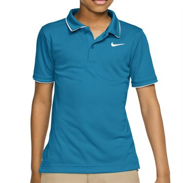 Nike Boys Court Dri fit Polo Shirt Neo Turquoise/White BQ8792 425