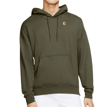 Nike Court Heritage Hoodie Mens Medium Olive BV0760 222