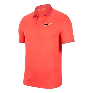 Nike Court Breathe Advantage Polo Shirt Mens Laser Crimson/Off Noir BV0780 644