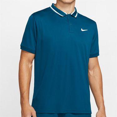 Nike Court Dri Fit Pique Polo Shirt Mens Valerian Blue/White BV1194 432