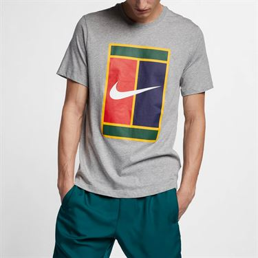 Nike Court Heritage Logo Tee - Dark Grey Heather