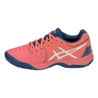 Asics Junior Gel Resolution 7 GS Tennis Shoe - Papaya/White
