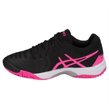 Asics Gel Resolution 7 GS Junior Tennis Shoe - Black/Hot Pink/Silver