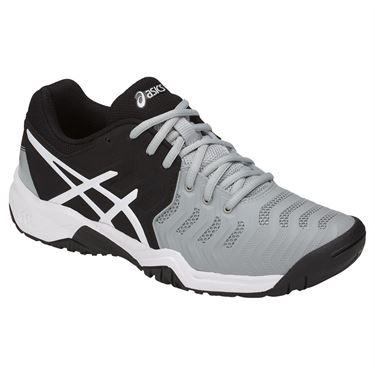 Asics Gel Resolution 7 GS Junior Tennis Shoe - Mid Grey/Black/White