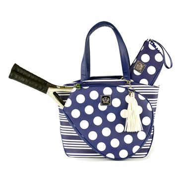 Court Couture Cassanova Stripes & Dots Navy Tennis Bag