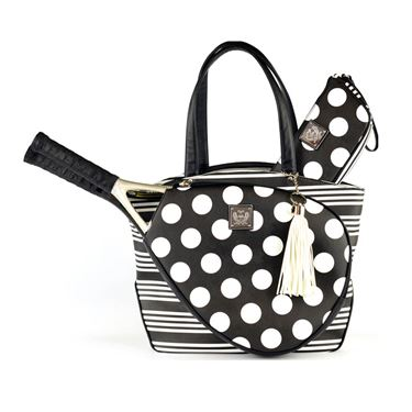 Court Couture Cassanova Stripes & Dots Black Tennis Bag